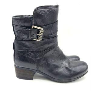 Josef Siebel Black Leather Combat Style Boots